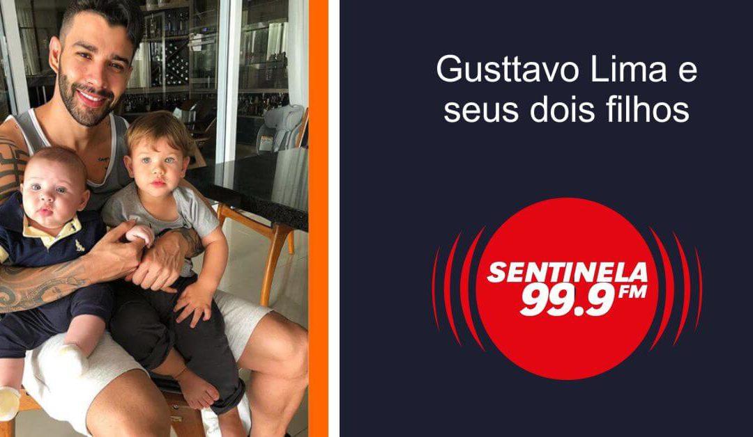 Gusttavo Lima e seus dois filhos no Instagram